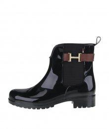 115998486 Hnedo-čierne dámske gumové chelsea topánky s hnedým remienkom Tommy Hilfiger