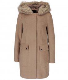 Béžový kabát s kapucňou s umelým kožúškom Dorothy Perkins e62642f4639