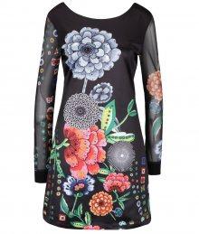 bed399df1776 Čierne šaty s potlačou a dlhým priesvitným rukávom Desigual Regina