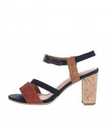 c61befa2cdb5 Hnedo-modré kožené topánky na podpätku Tamaris