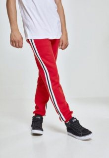 Urban Classics 3-Tone Side Stripe Terry Pants firered/wht/blk - L