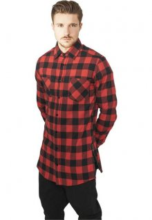 Urban Classics Side-Zip Long Checked Flanell Shirt blk/red - L