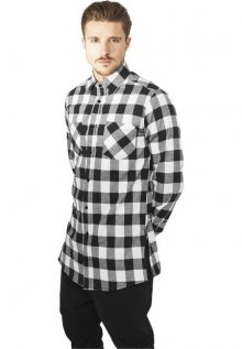 Urban Classics Side-Zip Long Checked Flanell Shirt blk/wht - M