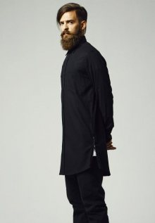 Urban Classics Side-Zip Long Checked Flanell Shirt blk/blk - M