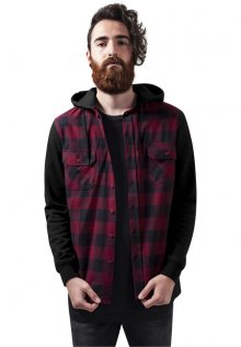 Urban Classics Hooded Checked Flanell Sweat Sleeve Shirt blk/burgundy/blk - L