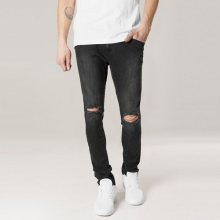 Urban Classics Slim Fit Knee Cut Denim Pants black washed - 38